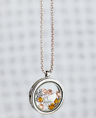 Love Floating Charm Locket Necklace