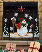 Holiday Fireplace Screens - Snowman