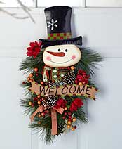 "24"" Festive Holiday Swags - Snowman"