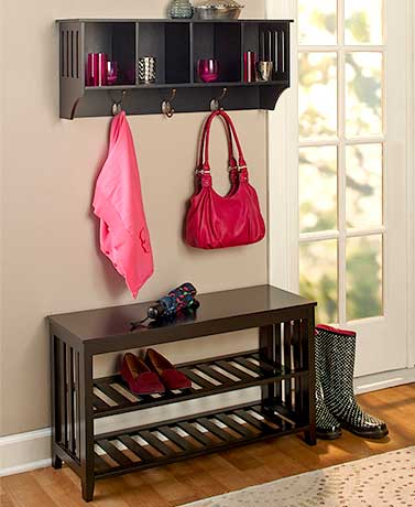 Black Entryway Bench or Wall Shelf