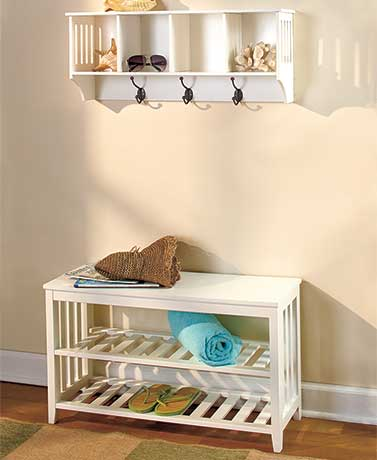 White Entryway Bench or Wall Shelf