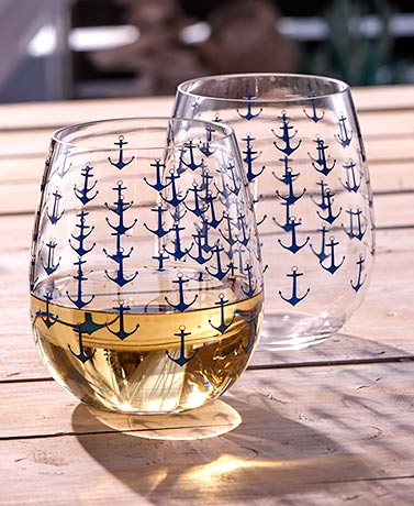 Sets of 2 Themed Stemless Wine Glasses