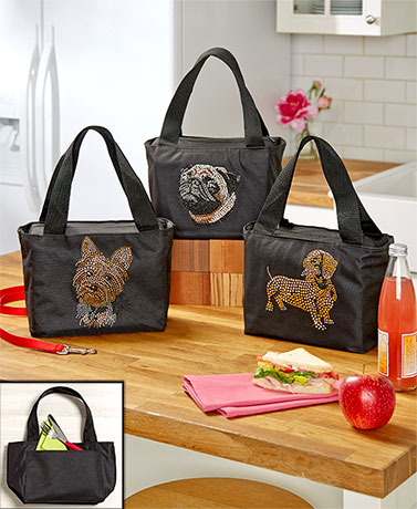 Dog Breed Bling Lunch Bags by Lyn Dorf