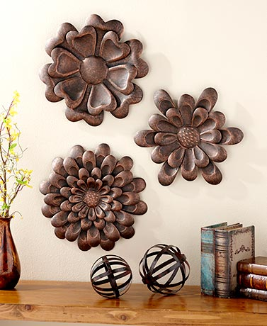 Sets of 3 Metal Wall Flowers
