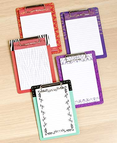 Sets of 5 Magnetic Clipboards and Notepads