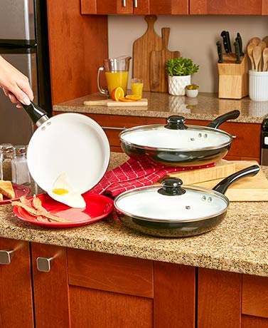 5-Pc. Ceramic Frying Pan Sets