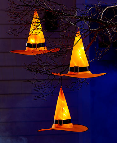 Set of 3 Lighted Witches' Hats