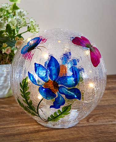 Lighted Painted Glass Orbs