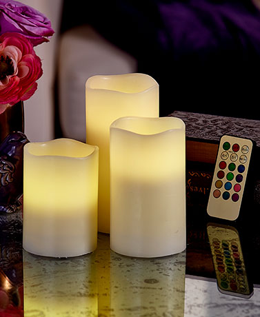 Set of 3 Color-Changing Candles with Remote
