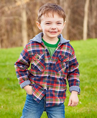 Boys' Flannel Fleece-Lined Hooded Jackets