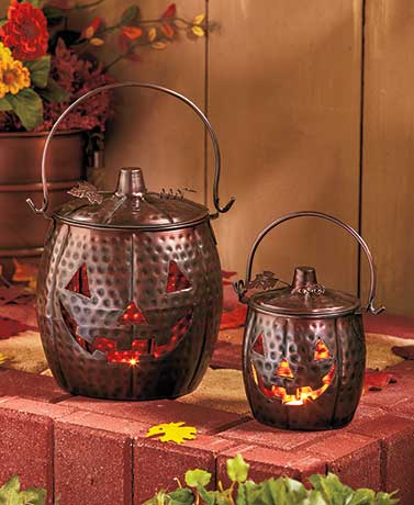 Set of 2 Metal Pumpkin Lanterns
