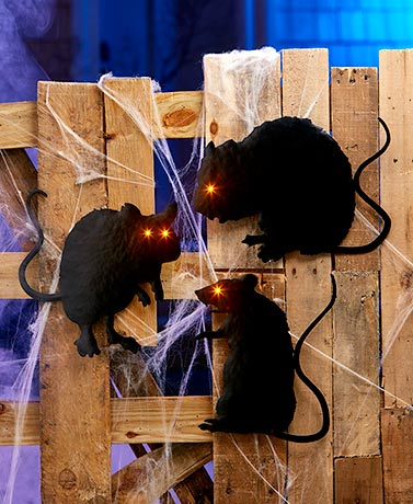 Lighted Metal Halloween Rats