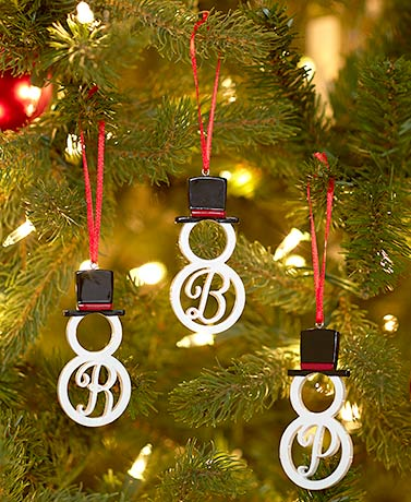 Boxed Monogram Snowman Ornaments