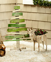 Wood Christmas Tree or Reindeer Planter