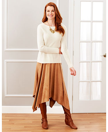 Women's Faux Suede Handkerchief Hem Skirts