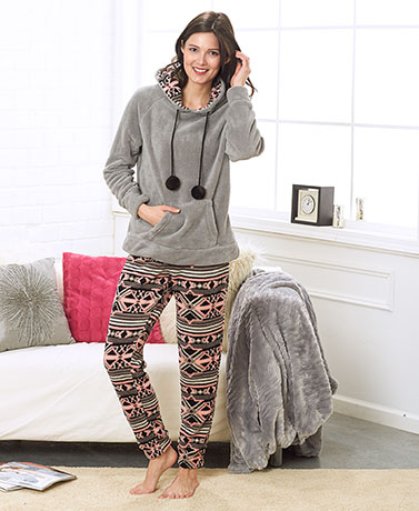 Women's Plush Hoodie and Pant Sets