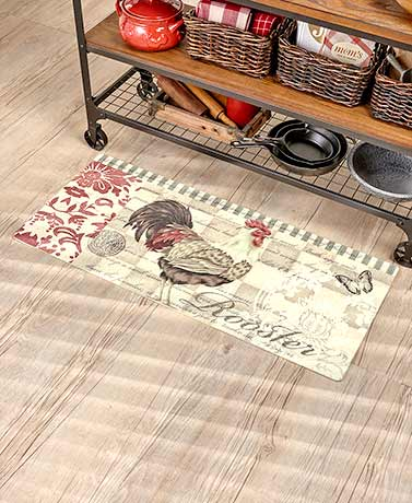 "44"" Rooster Printed Cushion Kitchen Runners"
