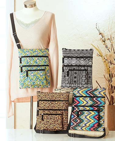 Quilted Triple-Zipper Crossbody Bags