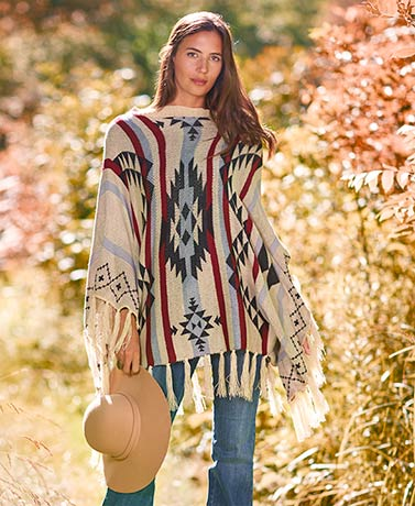 Women's Fringe Aztec Sweater Poncho