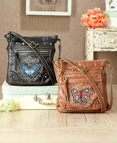Leatherette Butterfly Patch Crossbody Bags