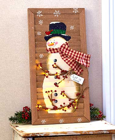 "24"" Lighted Snowman Shutter"