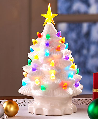 Retro Lighted Tabletop Christmas Trees