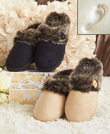 Memory Foam Slippers with Faux Fur Cuffs