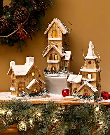 Lighted Wood Winter Houses