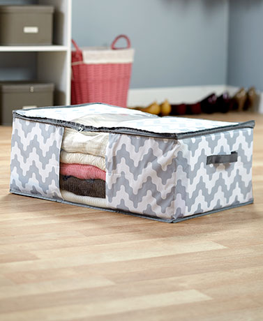 Oversized Storage Bags - Gray Chevron