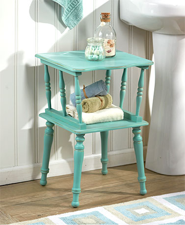 Antiqued Spindle Leg Accent Tables