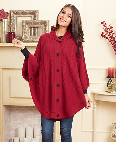 Women's Button-Up Neck Sweater Poncho