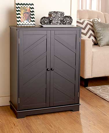 Chevron-Paneled Storage Cabinets