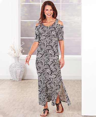 Women's Cold Shoulder Long Dress - BlackWhite