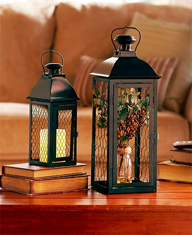 Set of 2 Chicken Wire Lanterns