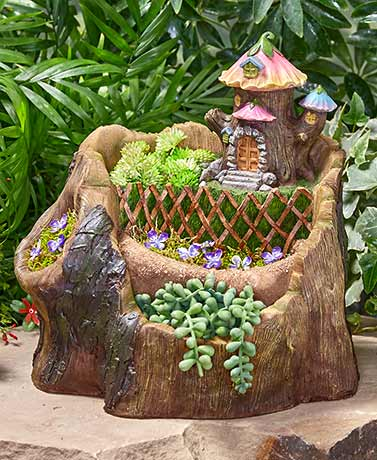 Tree Trunk Whimsical Village Planter