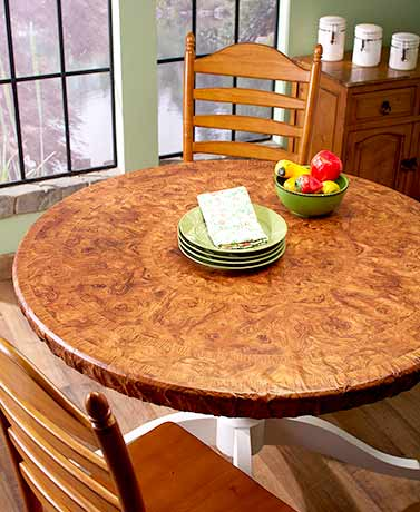 Wood-Look Custom-Fit Table Covers