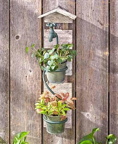 Rustic Double-Wall Planter with Hose