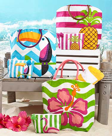 2-Pc. Tropical Tote and Zip Pouch Sets