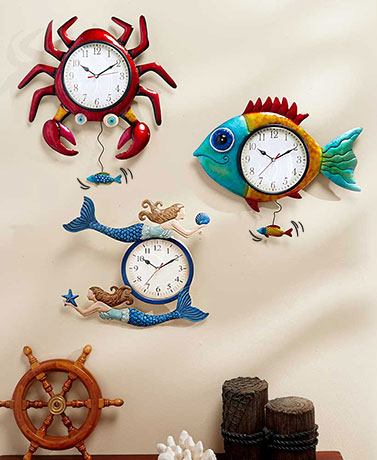 Metal Sealife Wall Clocks