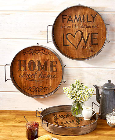 Rustic Wood & Metal Trays
