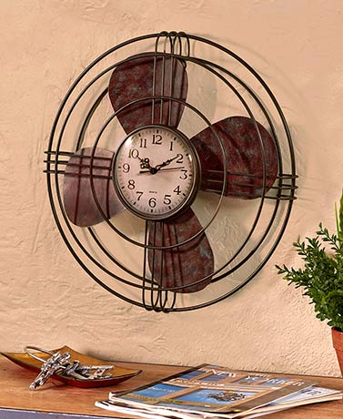 Vintage Fan Wall Clock