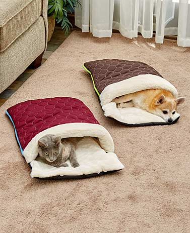 Quilted Snuggle Sack Pet Beds