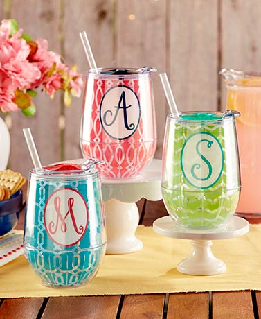 Double-Walled Monogram Tumbler with Lid