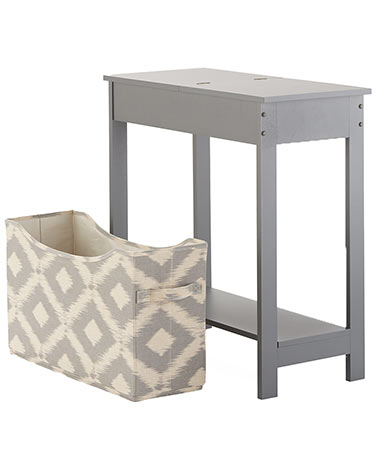 Side Table with Fashion Print Storage Bin - Gray
