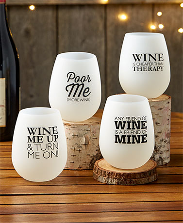 Set of 4 Flexible Stemless Wine Glasses