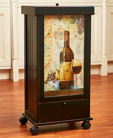Rolling Trash Bins with Storage - Wine