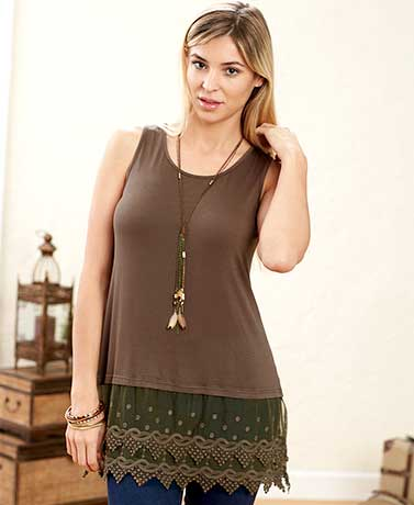 Women's Lace Trim Tank Tops