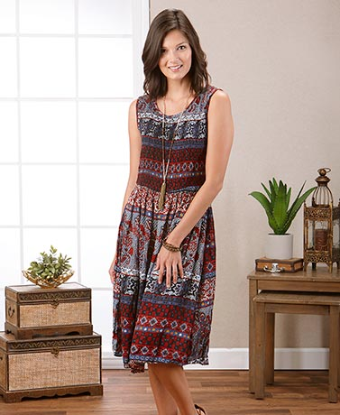 Women's Printed Smocked Sleeveless Dresses