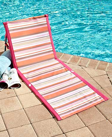 Striped Folding Beach Loungers