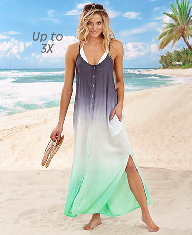 Ombre Button Front Cover-Up Dress - Green